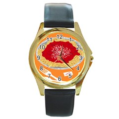Instant Noodles Mie Sauce Tomato Red Orange Knife Fox Food Pasta Round Gold Metal Watch by Mariart