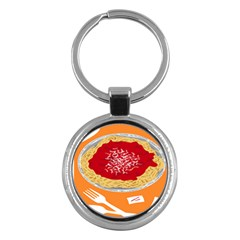 Instant Noodles Mie Sauce Tomato Red Orange Knife Fox Food Pasta Key Chains (round)  by Mariart