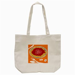 Instant Noodles Mie Sauce Tomato Red Orange Knife Fox Food Pasta Tote Bag (cream) by Mariart