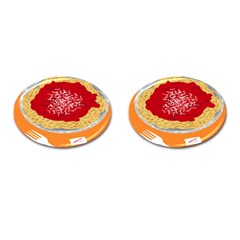 Instant Noodles Mie Sauce Tomato Red Orange Knife Fox Food Pasta Cufflinks (oval) by Mariart