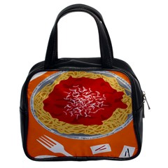 Instant Noodles Mie Sauce Tomato Red Orange Knife Fox Food Pasta Classic Handbags (2 Sides) by Mariart