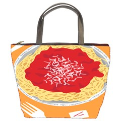 Instant Noodles Mie Sauce Tomato Red Orange Knife Fox Food Pasta Bucket Bags by Mariart