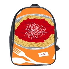 Instant Noodles Mie Sauce Tomato Red Orange Knife Fox Food Pasta School Bags(large)