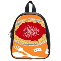 Instant Noodles Mie Sauce Tomato Red Orange Knife Fox Food Pasta School Bags (small)  by Mariart