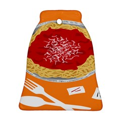 Instant Noodles Mie Sauce Tomato Red Orange Knife Fox Food Pasta Ornament (bell) by Mariart