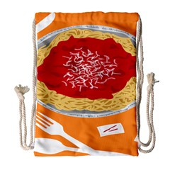 Instant Noodles Mie Sauce Tomato Red Orange Knife Fox Food Pasta Drawstring Bag (large) by Mariart