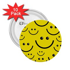 Linus Smileys Face Cute Yellow 2 25  Buttons (10 Pack)