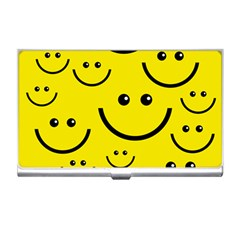 Linus Smileys Face Cute Yellow Business Card Holders by Mariart
