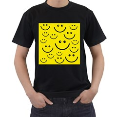Linus Smileys Face Cute Yellow Men s T-shirt (black) (two Sided) by Mariart