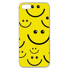 Linus Smileys Face Cute Yellow Apple Seamless Iphone 5 Case (clear) by Mariart