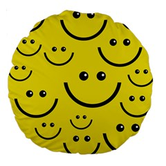 Linus Smileys Face Cute Yellow Large 18  Premium Round Cushions by Mariart