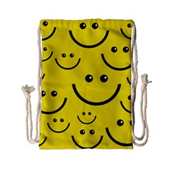 Linus Smileys Face Cute Yellow Drawstring Bag (small) by Mariart