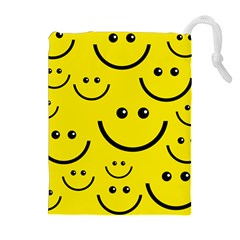 Linus Smileys Face Cute Yellow Drawstring Pouches (extra Large) by Mariart