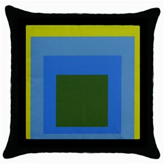 Plaid Green Blue Yellow Throw Pillow Case (black) by Mariart