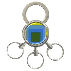 Plaid Green Blue Yellow 3 Ring Key Chains by Mariart