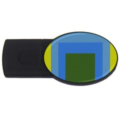 Plaid Green Blue Yellow Usb Flash Drive Oval (2 Gb) by Mariart