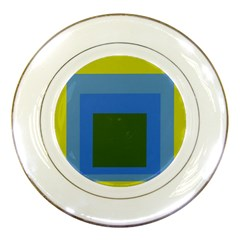 Plaid Green Blue Yellow Porcelain Plates
