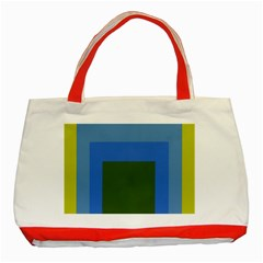 Plaid Green Blue Yellow Classic Tote Bag (red)