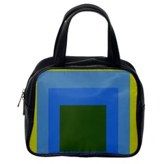 Plaid Green Blue Yellow Classic Handbags (one Side) by Mariart