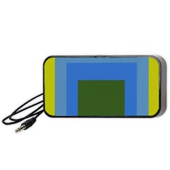 Plaid Green Blue Yellow Portable Speaker (black) by Mariart