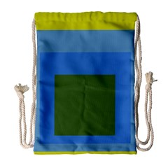 Plaid Green Blue Yellow Drawstring Bag (large) by Mariart