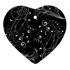Floral Design Heart Ornament (two Sides)
