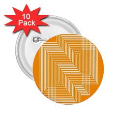 Orange Line Plaid 2 25  Buttons (10 Pack)