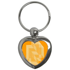 Orange Line Plaid Key Chains (heart)  by Mariart