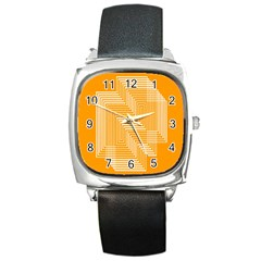 Orange Line Plaid Square Metal Watch by Mariart