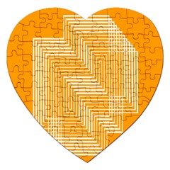 Orange Line Plaid Jigsaw Puzzle (heart) by Mariart