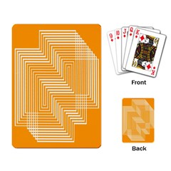 Orange Line Plaid Playing Card by Mariart