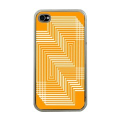 Orange Line Plaid Apple Iphone 4 Case (clear) by Mariart