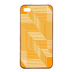 Orange Line Plaid Apple Iphone 4/4s Seamless Case (black) by Mariart