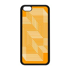 Orange Line Plaid Apple Iphone 5c Seamless Case (black) by Mariart