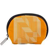 Orange Line Plaid Accessory Pouches (small)  by Mariart