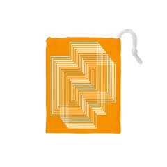 Orange Line Plaid Drawstring Pouches (small)  by Mariart
