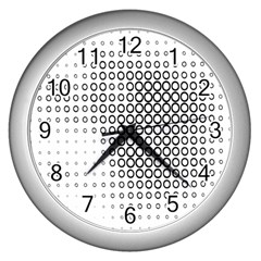 Polka Circle Round Black White Hole Wall Clocks (silver)  by Mariart