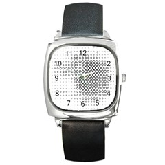 Polka Circle Round Black White Hole Square Metal Watch by Mariart