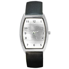 Polka Circle Round Black White Hole Barrel Style Metal Watch by Mariart