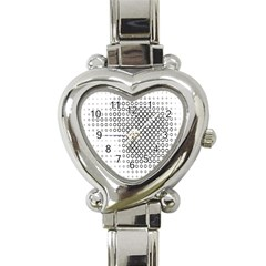 Polka Circle Round Black White Hole Heart Italian Charm Watch by Mariart