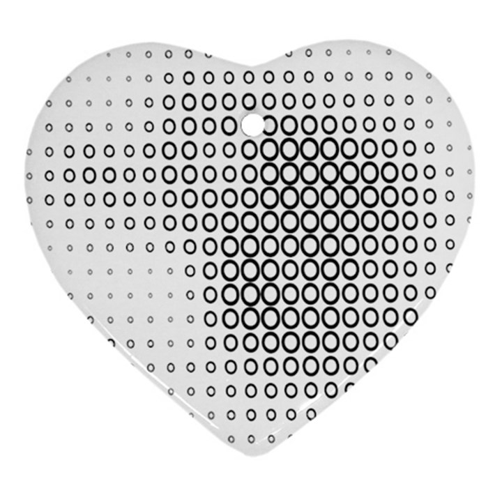 Polka Circle Round Black White Hole Heart Ornament (Two Sides)