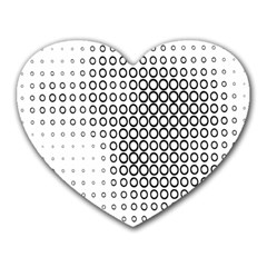 Polka Circle Round Black White Hole Heart Mousepads by Mariart
