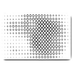 Polka Circle Round Black White Hole Large Doormat  by Mariart