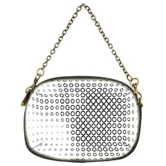 Polka Circle Round Black White Hole Chain Purses (two Sides)
