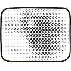 Polka Circle Round Black White Hole Fleece Blanket (mini) by Mariart
