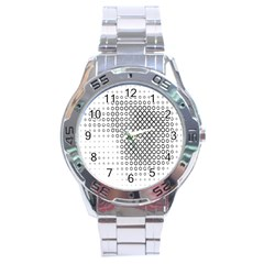 Polka Circle Round Black White Hole Stainless Steel Analogue Watch by Mariart