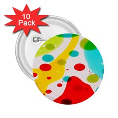 Polkadot Color Rainbow Red Blue Yellow Green 2 25  Buttons (10 Pack)  by Mariart