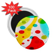 Polkadot Color Rainbow Red Blue Yellow Green 2 25  Magnets (100 Pack)