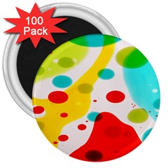 Polkadot Color Rainbow Red Blue Yellow Green 3  Magnets (100 Pack) by Mariart