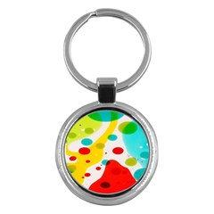 Polkadot Color Rainbow Red Blue Yellow Green Key Chains (round)  by Mariart